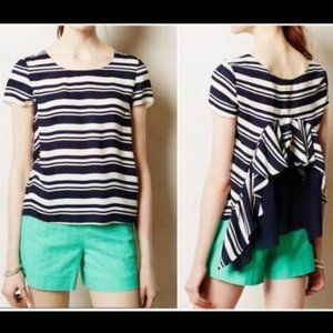 Anthropologie Maeve Apropos Navy Blue White Top